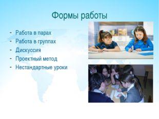 Формы работы Работа в парах Работа в группах Дискуссия Проектный метод Нестан