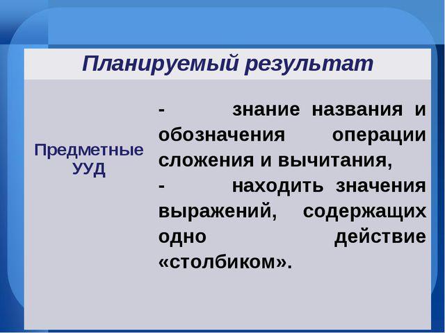 Планируемый результат Предметные УУД - знание названия и обозначения операц...