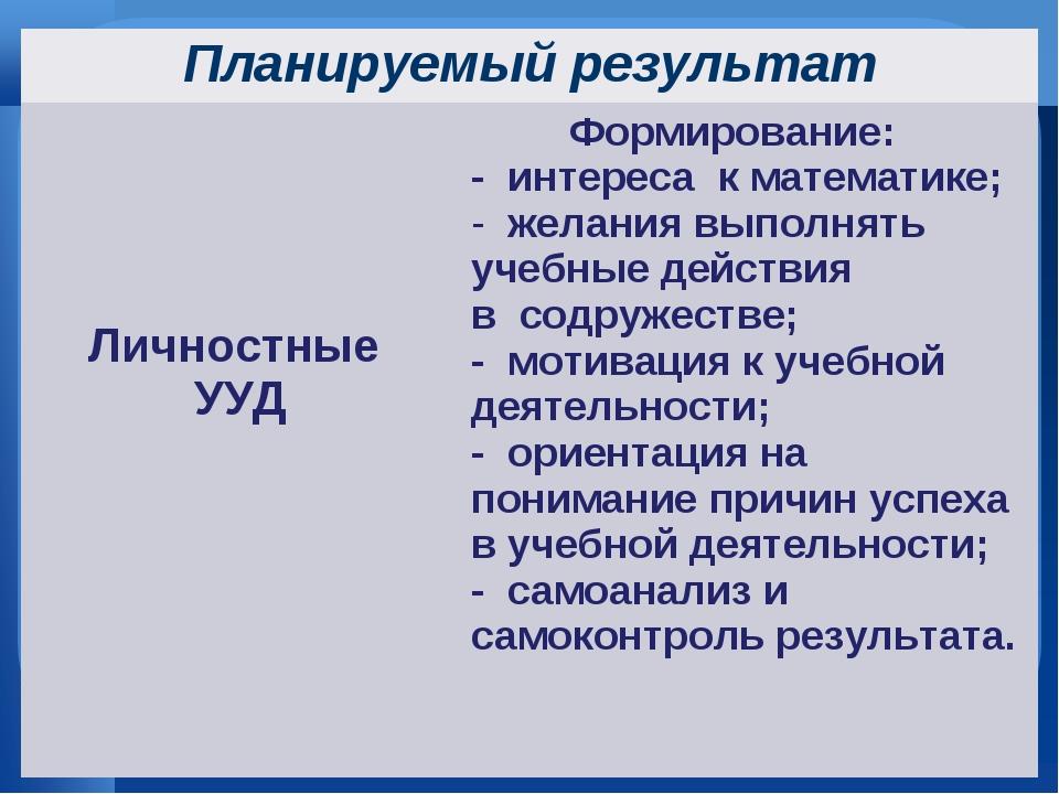 Планируемый результат Личностные УУДФормирование: - интереса к математике;...