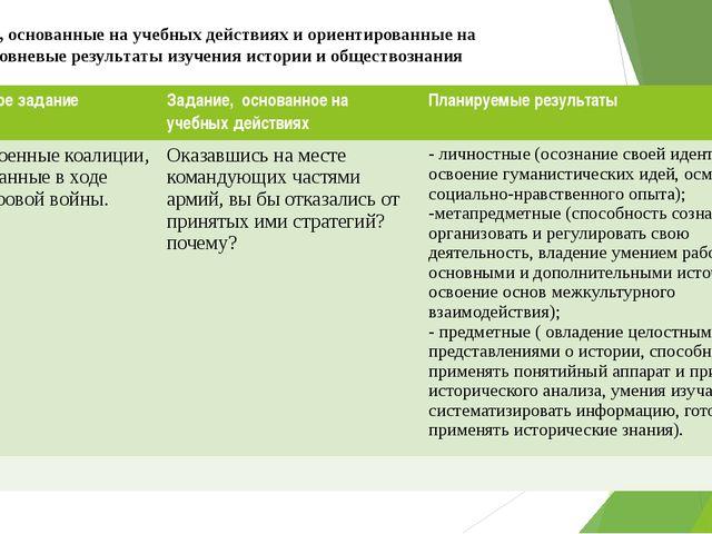 Задания, основанные на учебных действиях и ориентированные на многоуровневые...