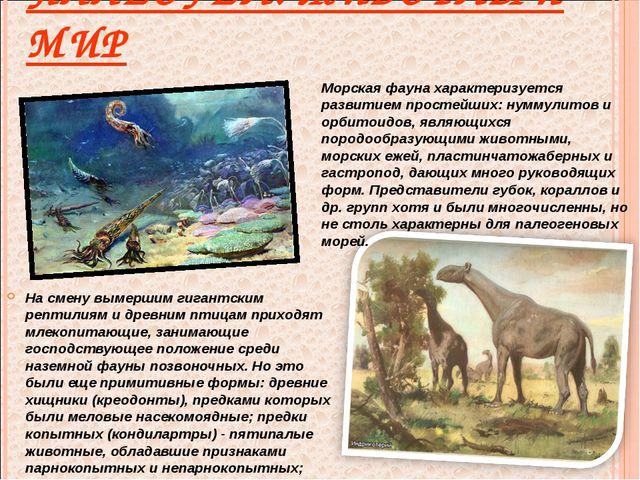 ПАЛЕОГЕН. ЖИВОТНЫЙ МИР На смену вымершим гигантским рептилиям и древним птица...