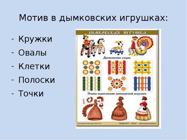 Мотив в дымковских игрушках: Кружки Овалы Клетки Полоски Точки