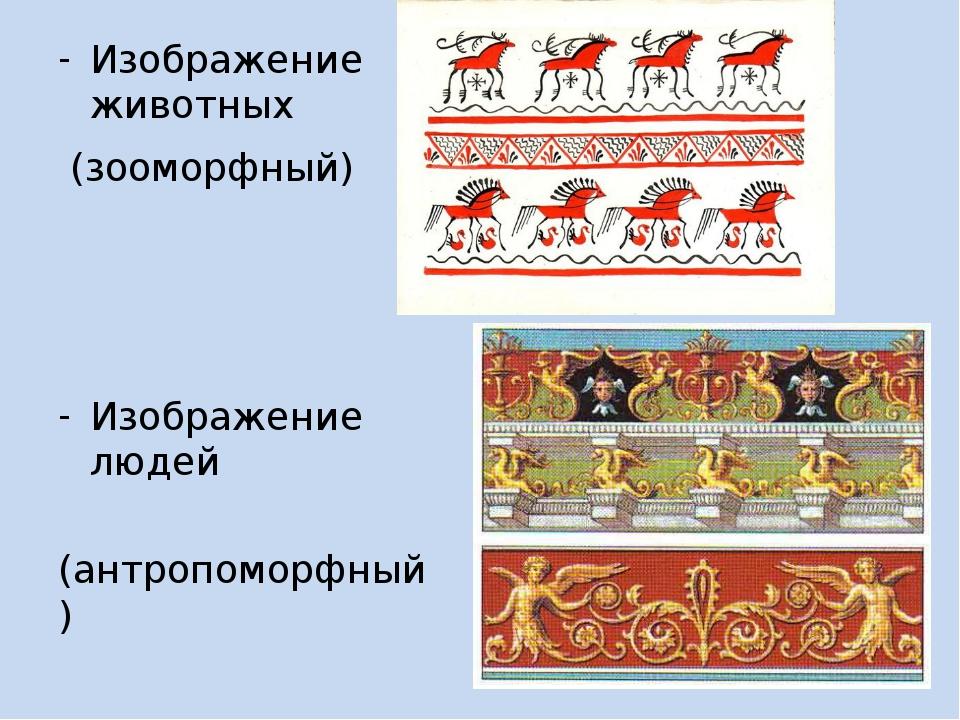 Изображение животных (зооморфный) Изображение людей (антропоморфный)
