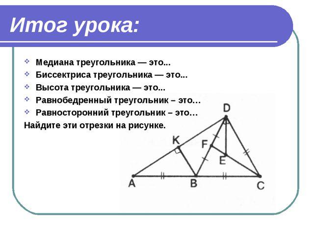 Итог урока: Медиана треугольника — это... Биссектриса треугольника — это... В...
