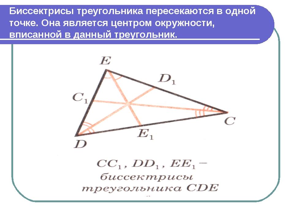 Биссектрисы треугольника пересекаются в одной точке. Она является центром окр...