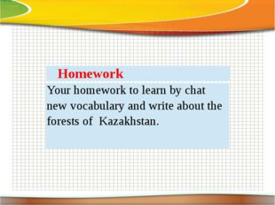 Homework Your homework to learn by chat new vocabulary and write about the fo