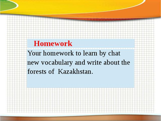Homework Your homework to learn by chat new vocabulary and write about the fo...