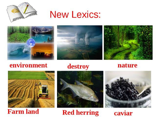 New Lexics: environment destroy nature Farm land Red herring caviar