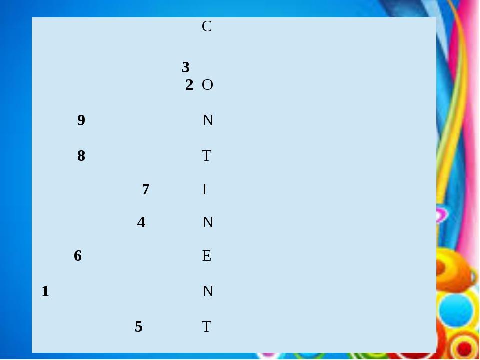 3 C 2 O 9 N 8 T 7 I 4 N 6 E 1 N  5 T