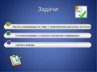 Задачи: Изучить информацию по теме, с привлечением различных источников Сис