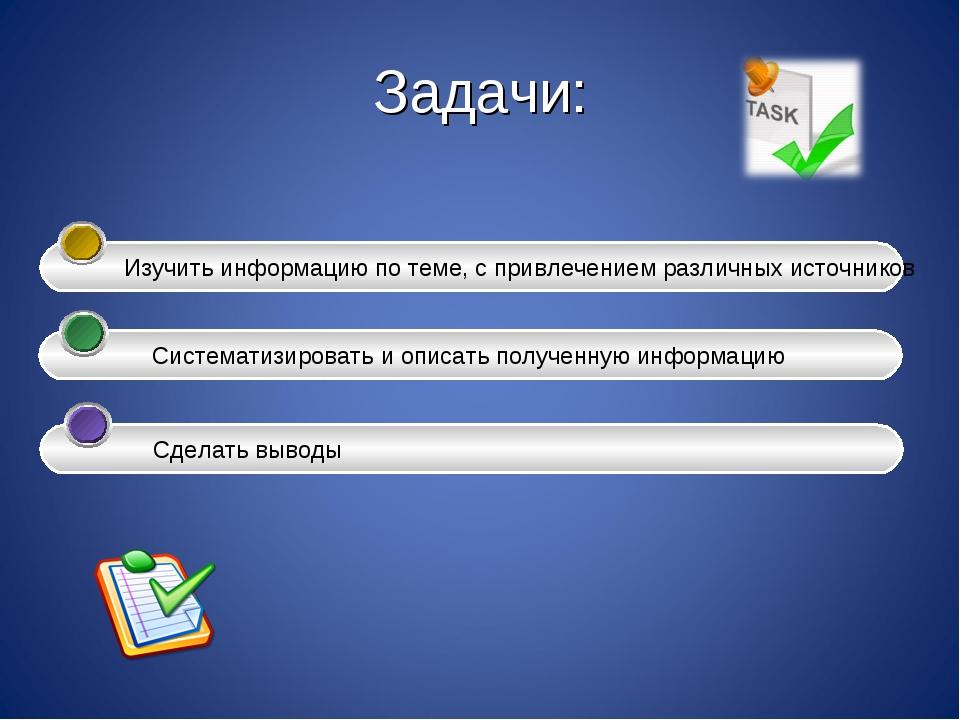 Задачи: Изучить информацию по теме, с привлечением различных источников Сис...