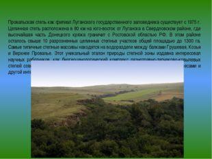 Провальская степь как филиал Луганского государственного заповедника существ