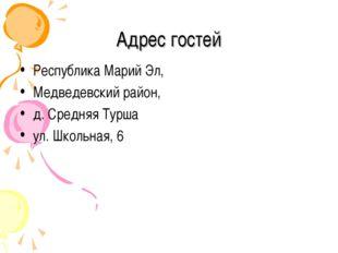 Адрес гостей Республика Марий Эл, Медведевский район, д. Средняя Турша ул. Шк