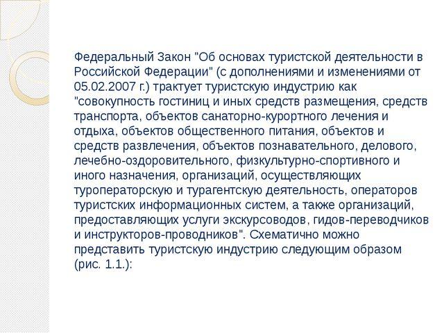 """Федеральный Закон """"Об основах туристской деятельности в Российской Федерации""""..."""