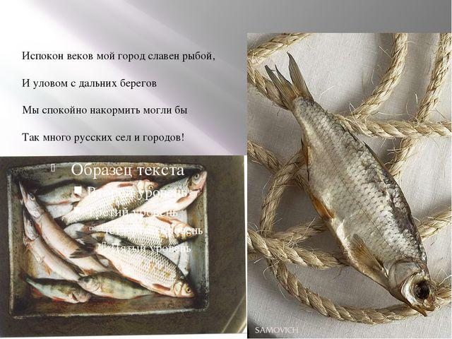 Испокон веков мой город славен рыбой, И уловом с дальних берегов Мы спокойно...