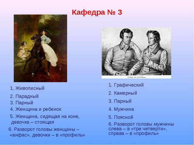 Кафедра № 3 1. Графический 1. Живописный 2. Парадный 3. Парный 4. Женщина и р...
