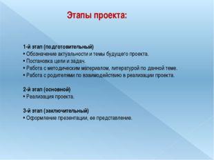 Этапы проекта: 1-й этап (подготовительный) • Обозначение актуальности и темы