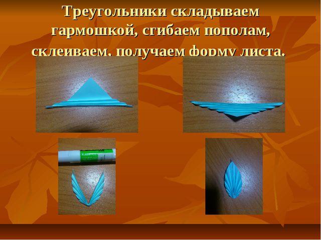 Треугольники складываем гармошкой, сгибаем пополам, склеиваем, получаем форму...
