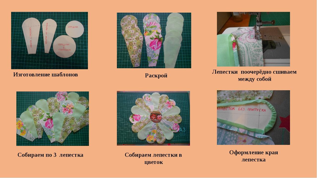 Изготовление шаблонов Раскрой Лепестки поочерёдно сшиваем между собой Оформле...