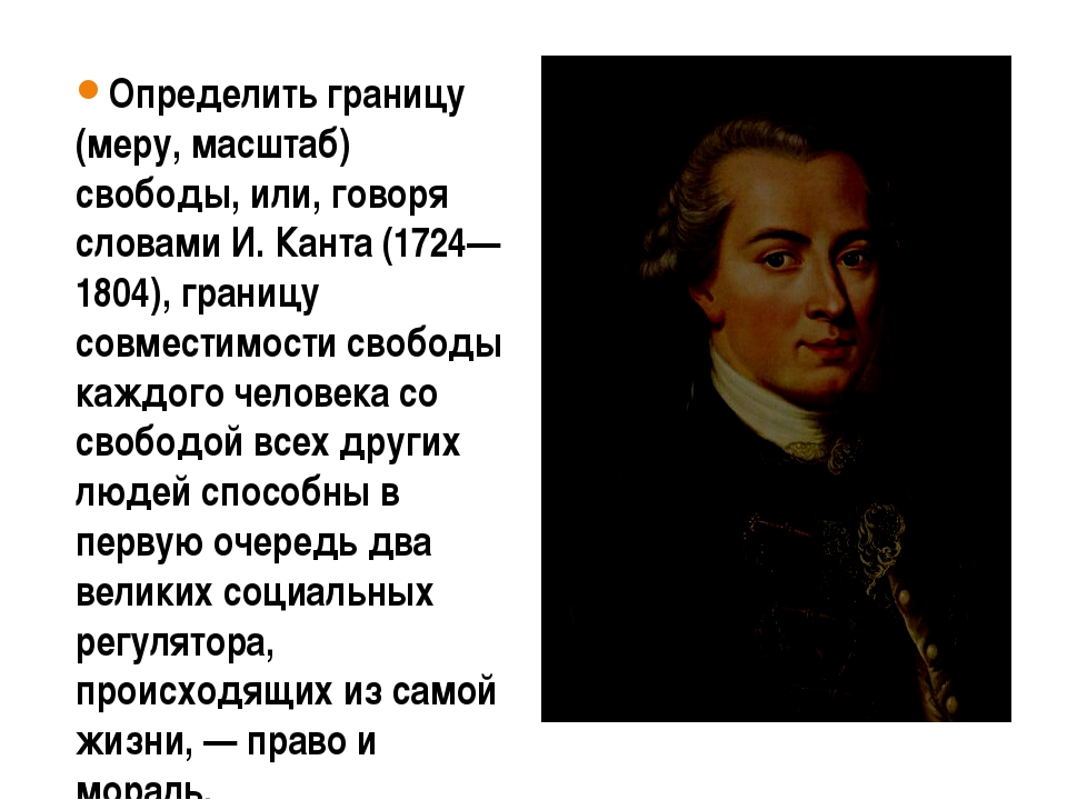 Определить границу (меру, масштаб) свободы, или, говоря словами И. Канта (172...