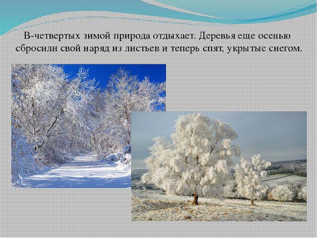 В-четвертых зимой природа отдыхает. Деревья еще осенью сбросили свой наряд из...
