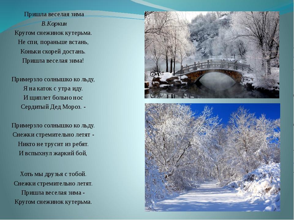 Пришла веселая зима В.Коркин Кругом снежинок кутерьма. Не спи, пораньше вст...