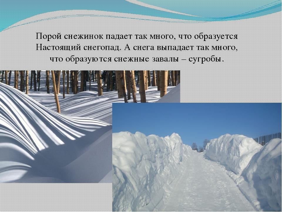 Порой снежинок падает так много, что образуется Настоящий снегопад. А снега в...