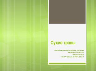 Сухие травы Презентация подготовлена учителем начальных классов Павловой Е.В.