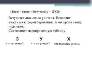 «Знаю – Узнал – Хочу узнать – (ЗУХ)» Вступительное слово учителя. Подводит у