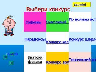 Выбери конкурс Софизмы 1 2Слайд 30 3 выход Счастливый случайПо волнам истор