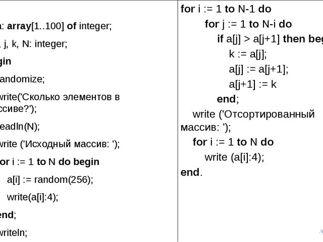 var a: array[1..100] of integer; i, j, k, N: integer; begin randomize; write(...