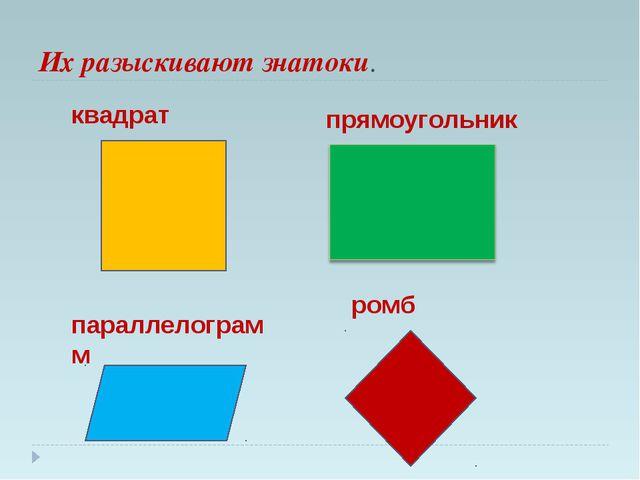 Их разыскивают знатоки. квадрат прямоугольник параллелограмм ромб