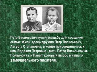 Петр Васильевич купил усадьбу для создания семьи. Жили здесь дружно Петр Васи