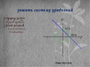 решить систему уравнений A(0;2) B(2;0) Ответ: (0;2), (0;2).