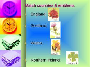 Match countries & emblems England; Scotland; Wales; Northern Ireland;