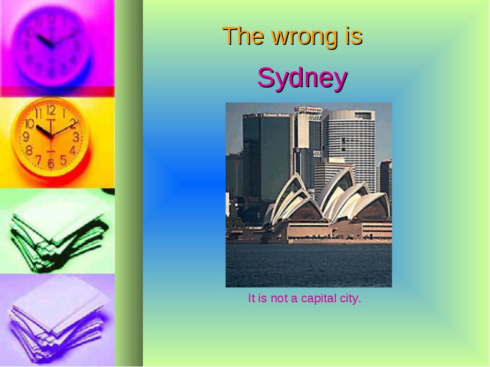 The wrong is Sydney It is not a capital city.
