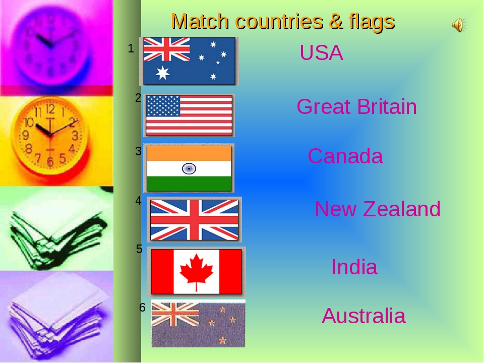 Match countries & flags 1 2 3 4 5 6 USA Great Britain Canada New Zealand Indi...