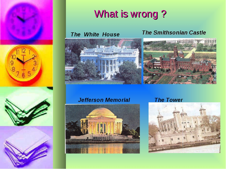 What is wrong ? The White House The Smithsonian Castle Jefferson Memorial The...