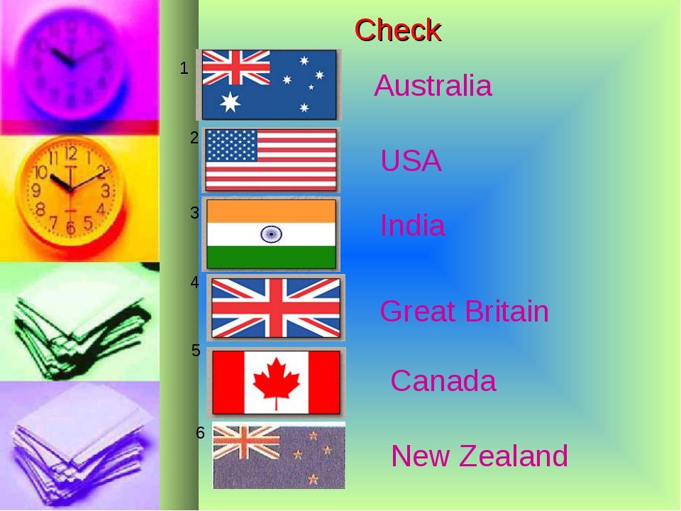 Check 1 2 3 4 5 6 USA Great Britain Canada New Zealand India Australia