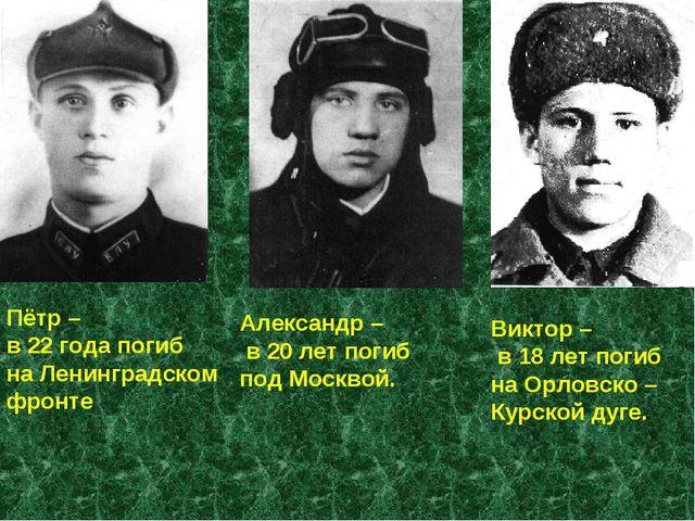 Пётр – в 22 года погиб на Ленинградском фронте Александр – в 20 лет погиб под...