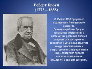 Роберт Броун (1773 – 1858) С 1849 по 1853 Броун был президентом Линнеевского