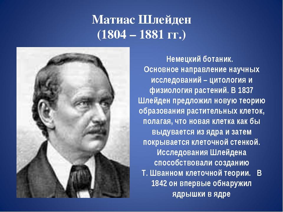 Матиас Шлейден (1804 – 1881 гг.) Немецкий ботаник. Основное направление научн...