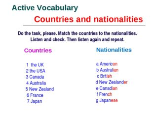 Countries and nationalities Active Vocabulary Do the task, please. Match the