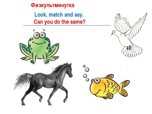 Look, match and say. Can you do the same? ФиФизкультминутка