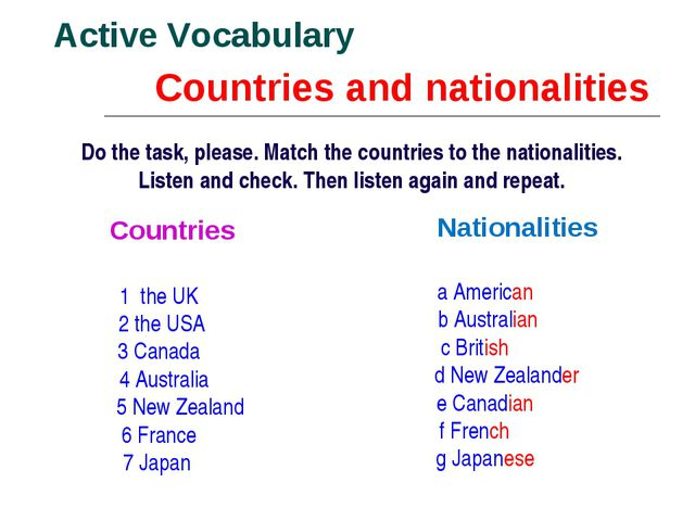 Countries and nationalities Active Vocabulary Do the task, please. Match the...