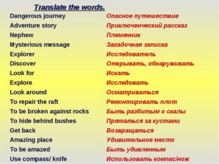 Translate the words. Dangerous journey	Опасное путешествие Adventure story	Пр