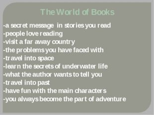 The World of Books -a secret message in stories you read -people love reading