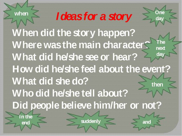 Ideas for a story When did the story happen? Where was the main character? Wh...