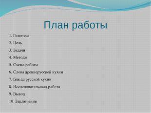 План работы 1. Гипотеза 2. Цель 3. Задачи 4. Методы 5. Схема работы 6. Слова