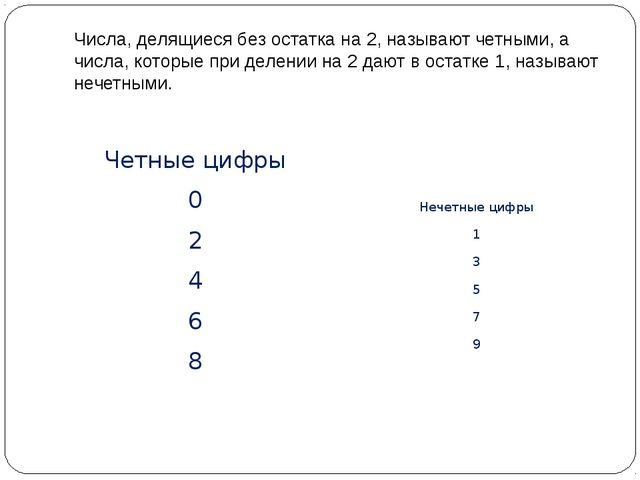 Числа, делящиеся без остатка на 2, называют четными, а числа, которые при дел...